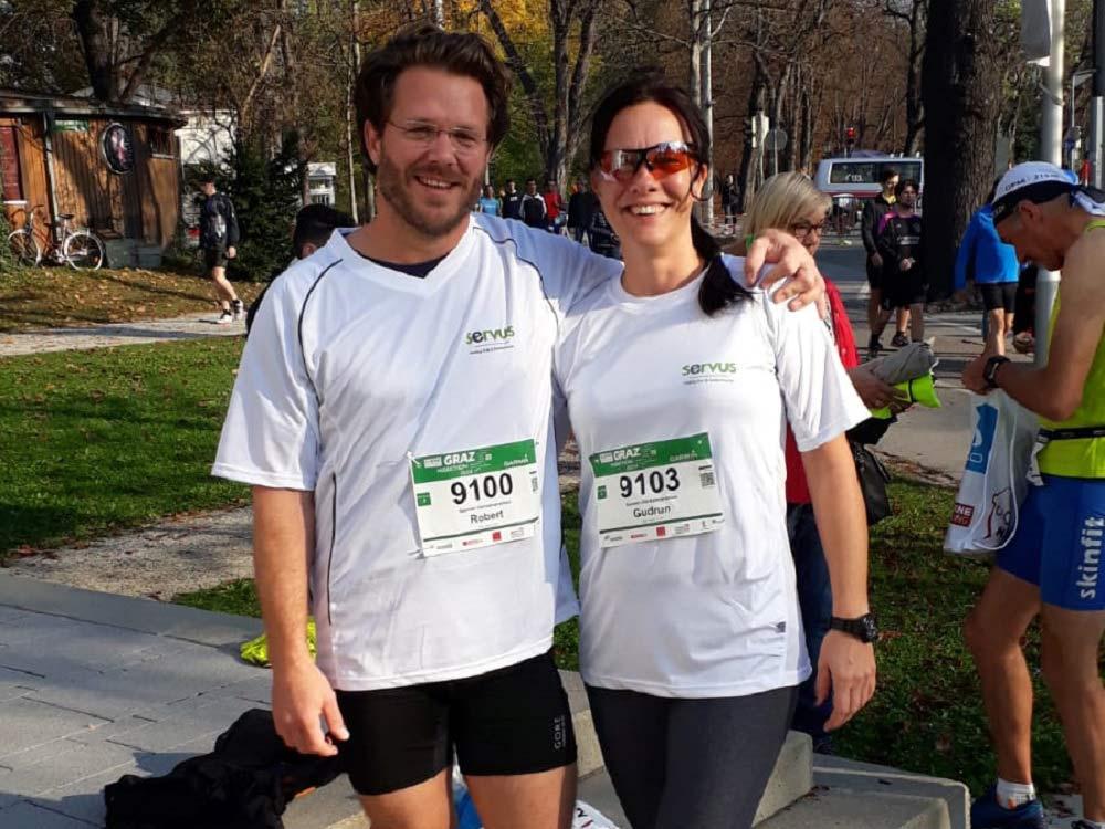 Servus MitarbeiterInnen beim Graz Marathon